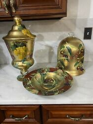 Set Scott Potter Plums And Grapes Gold Rimmed Decoupage Urn Cloche And Bowl