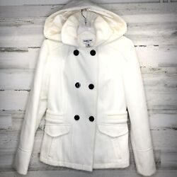 Celebrity Pink Double Breasted Cream White Jacket Winter Dress Size Small