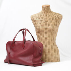 Hermes Victoria 35 Taurillon Clemence Duffle Bag Boston □d 2000 Red Leather