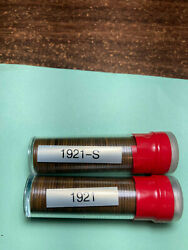 1921-pands Lincoln Wheat Cent Rolls 2 Rolls 100 Year Old Penny Tough Date To Find