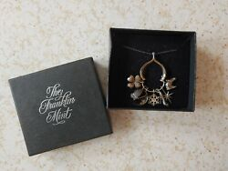The Franklin Mint Vintage 1979 Wishbone Charm Necklace Called 7 Days Of Wishes