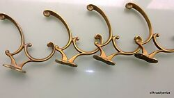 4 Coat Hall Stand Hooks Solid Brass Furniture Antiques Vintage Old Style Curly B