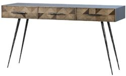 55 L Emiliano Console Table Oak Wood Black Iron Pulls And Tapered Iron Legs