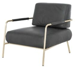 28 W Occasional Chair Modern Fume Full Grain Leather Brass Metal Frame