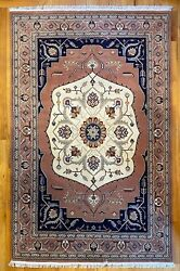 New Top Quality Handmade Tribal Floral Oriental Rug, Dusty Rose And Navy Blue, 6x9