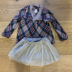 Tea Collection Outfit - Plaid Flannel Shirt And Heather Gray Tulle Tutu Skirt 3t