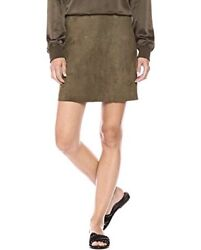 Theory Military Green Suede Irenah Mini Skirt Size M Great Condition