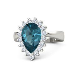 3.50 Ct Real Blue Topaz Gemstone Ring Solid 950 Platinum Women Rings Size 5 6 8