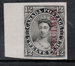 Canada 3pi Extra Fine Left Margin Plate Proof On India Paper With Cert.