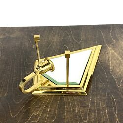 Partylite Infinity Sconce Brass Beveled Glass Mirror Wall Midcentury Hobo Decor