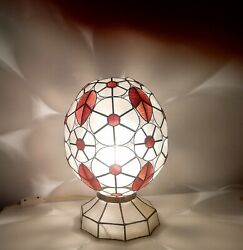 Rare Art Deco Table Light Mother Of Pearl Shell 1930s Floral Egg Sculpture Lamp