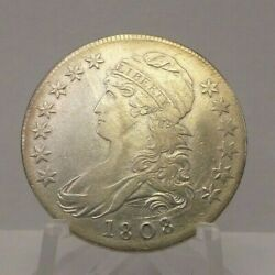 1808-p 50c Capped Bust Half Dollar Silver Us Coin Au Detail H2
