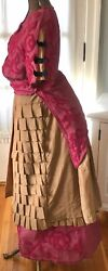 Antique Victorian Transitional Rose Chenille And Tan Cotton Bustle Dress