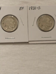 1914 Extra Fine Condition And 1931-s Very Fine Condition Buffalo Nickels