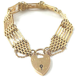9ct Gold Ladies Gate Bracelet Yellow 23.5g 13.2mm 7 Inch With 2.5 Safety Chain