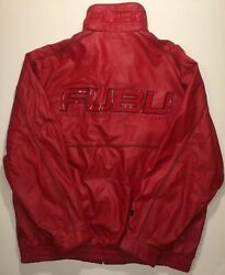 Vintage 90s Fubu Collection Big Stitched Logo Red Leather Jacket Rare Xxl 2xl