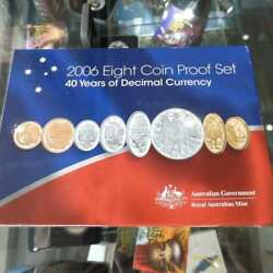 2006 Australia 40th Years Of Decimal Currency Complete 8 Coin Proof Year Set