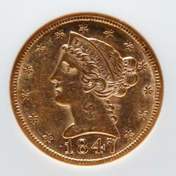 1847 5 Gold Coin Coronet Head Half Eagle Certified By Ngc