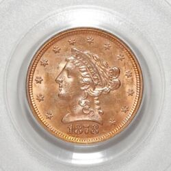 1878-s Coronet Head Gold 2.50 Quarter Eagle Coin Graded By Pcgs