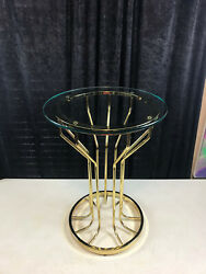 Vintage Mcm Round 9 Spoke Brass Side Table Glass Top 22 1/4 X 14 Top Canada