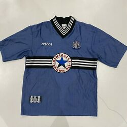 Adidas Newcastle United 1996-97 Away Soccer Jersey Brown Ale Shirt Blue Large