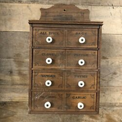 Vintage Wooden Wall Mounted Hanging Spice Cabinet Labeled White Ceramic Knobs