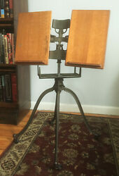 Antique Victorian Oak Wood And Cast Iron Book Stand Dictionary Bible Adjustable