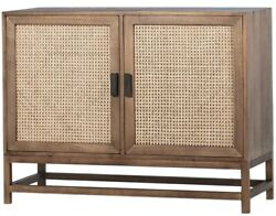 42 L Lewis Sideboard Solid Natural Hardwood Cabinetry With Natural Rattan Doors