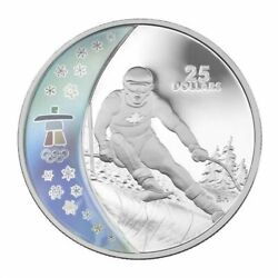 2007 25 Dollar Vancouver 2010 Olympics Alpine Skiing Coin Sterling Silver