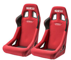Pair Sparco Sprint Racing Bucket Seat - Large - Red Fabric - Fia Approved