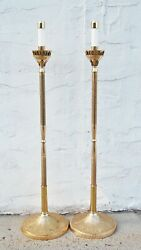 Pair Of Brass Processional Candlesticks Torch / Acolyte And Base Stands 108spal