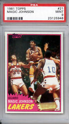 1981 Topps Magic Johnson Lakers 21 2nd Yr First Solo Basketball Card Mint Psa 9