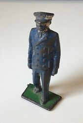 Vintage Cast Iron Figure Train Porter Or Officer Antique Painted Figurine Toy