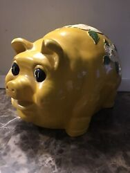 Rare Giant Vintage Pig Bank, Yellow Plaster/chalkware A-z Co. 1977