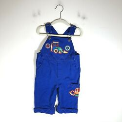 Vintage Busterbrown Tractor Overalls Blue Patches Baby Boy Sz 12 Mo Diaper Snaps