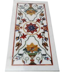 30 X 60 Inches Marble Meeting Table Top Hand Inlaid Dinette Table With Gemstones