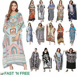 Kaftan Dress Caftan Beach Cover Boho Gown Hippie Beach Women Plus Size Tunic Top $11.99