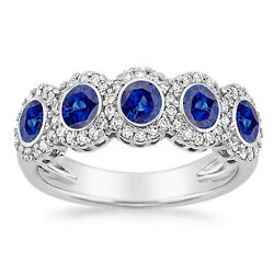 Solid 14k White Gold Real Blue Sapphire Ring 0.43 Ct Natural Diamond Band Size M