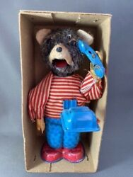 Antique Vintage Rare Wind-up Tin Toy Teddy Bear Japanese Synthetic Plush Vgc