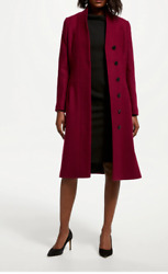 John Lewis Womens Bruce Oldfield Wool Blend Smart Coat Red Uk 18 Rrp Andpound280