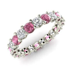 2.03 Ct Real Pink Sapphire Gemstone Diamond Band Solid 950 Platinum Bands Size 8