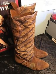 Vintage Designer Specchio Italian Sued Patch Work Leather Boots Size 40 Brown