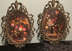Vintage Antique Pair Of Italian Filigree Brass Oval Bubble Glass Picture Frames
