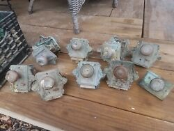 Beautiful Lot Of 8 Solid Brass Eastlake Door Knobs And Plates 5.5 Lbs Each