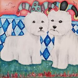 West Highland White Terrier Original Painting On Canvas 12x12 Westie Jesters Art