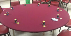 Red Felt Poker Table Cover Fits 72 Round - With A 1-2 Edge Dwst / Bl Fs