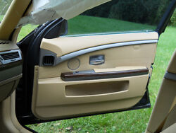 2002-08 Bmw 745i750i760i4 Beige Interior Door Panels With Wood Trim And Clips