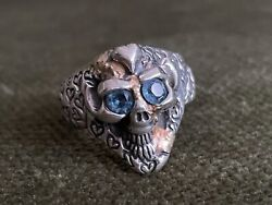 VintageBill Wall Small Good Luck Skull ring with Heart Graffiti and gold accent