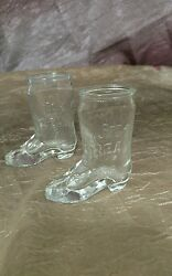 Jim Beam Glass Boot Shot Glasses Glass Drink Collectible Pair
