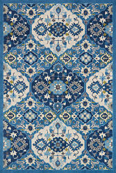7and039 6 X 9and039 6 Loloi Rug Francesca Blue Ivory 100 Polyester Power Loomed